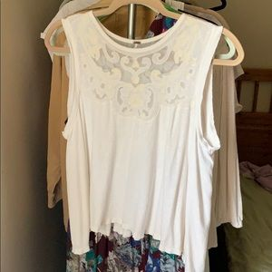 Free people embroidered mesh flowy tank